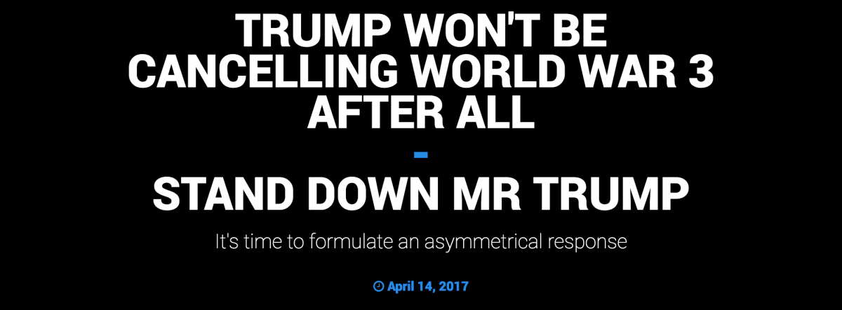 Trump Won't Be Cancelling World War 3 After All #StandDownMrTrump